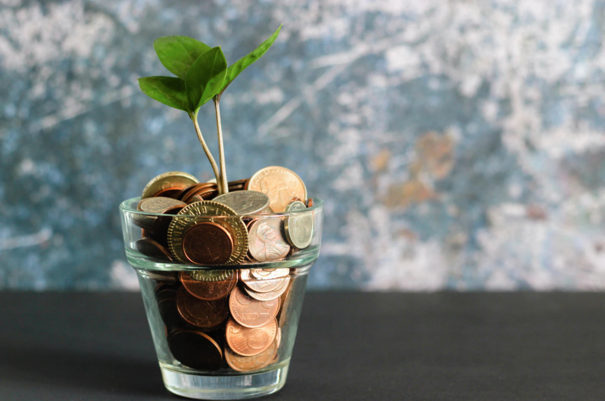 Money Saving Tips for home, jar full of change and a plant growing out of it.